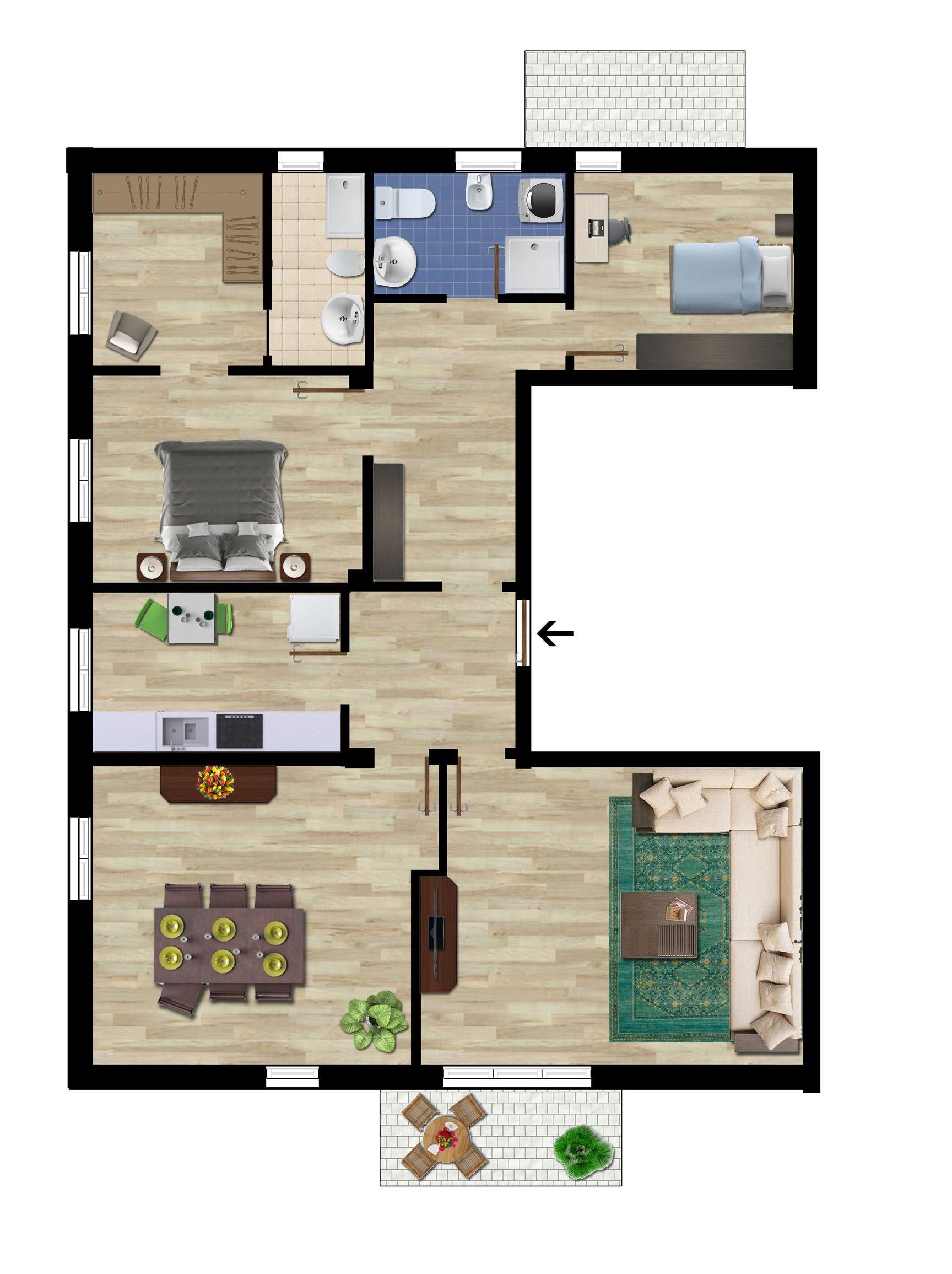 Planimetria arredata di un appartamento a corredo di un for Planimetria appartamento