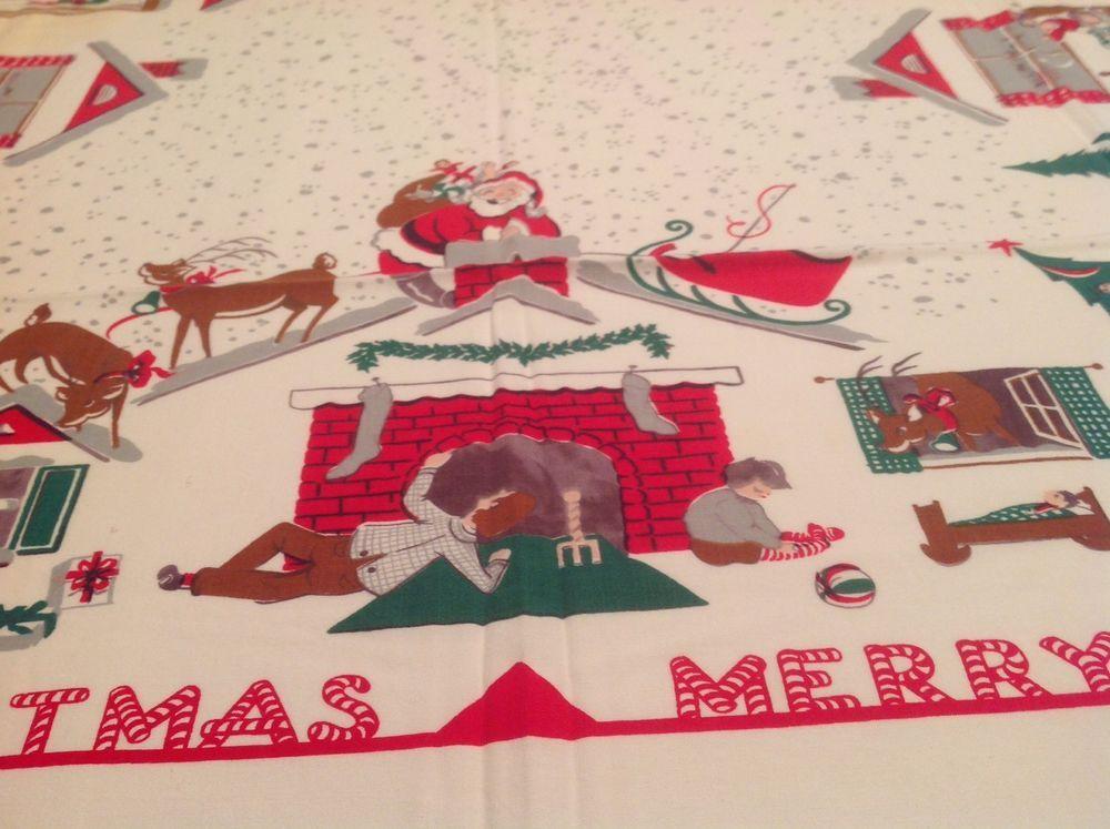 Vintage Christmas Tablecloth The Night Before Christmas Christmas