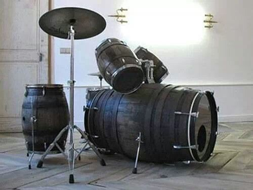 Wine barrels made into a drum set
