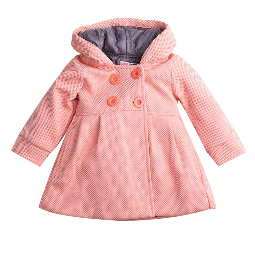 Baby Girls Fall Winter Trench Coat Warm Hooded Jacket Kids Outerwear Clothes