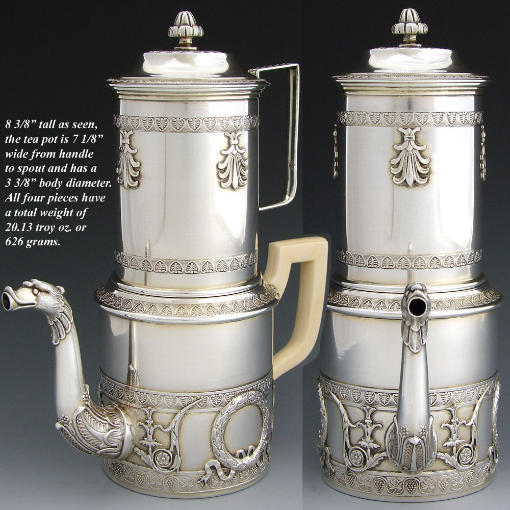 rare antique empire style french sterling silver 4pc coffee press biggin pot with press top. Black Bedroom Furniture Sets. Home Design Ideas