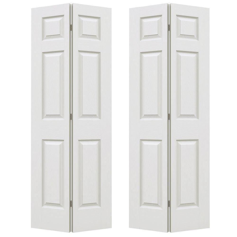 Jeld Wen 72 In X 80 In Colonist Primed Textured Molded Composite Mdf Closet Bi Fold Double Door Thdjw160600158 Bifold Doors Bifold Closet Doors Doors Interior