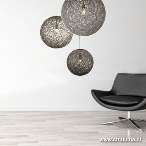 Hanglamp bol Abaca grijs woonkamer - www.straluma.nl | Lights ...