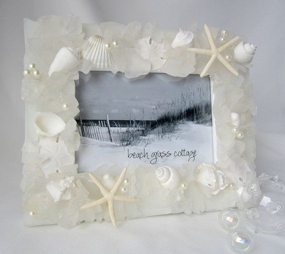 Photo of Beach Decor Sea Glass Frame, Nautical Decor Beach Glass Frame, Coastal Decor Seashell Frame, Beach Wedding Gift, 5×7″ OR 8×10″ WHITE