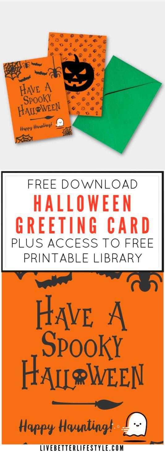 Free Printable Library Halloween Printables Halloween Greetings Halloween Greeting Card