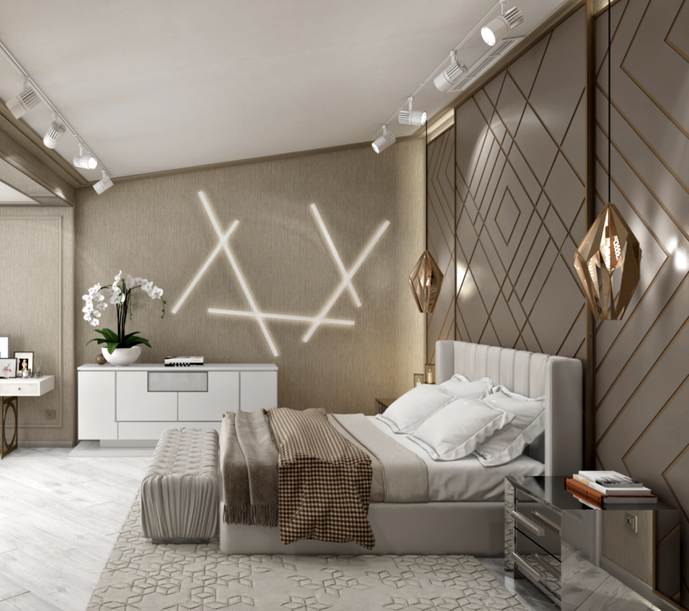 32 Stunning Luxury Master Bedroom Designs Photo Collection: N-Cube Luxury, Elegant And Beautiful Bedroom With Beige