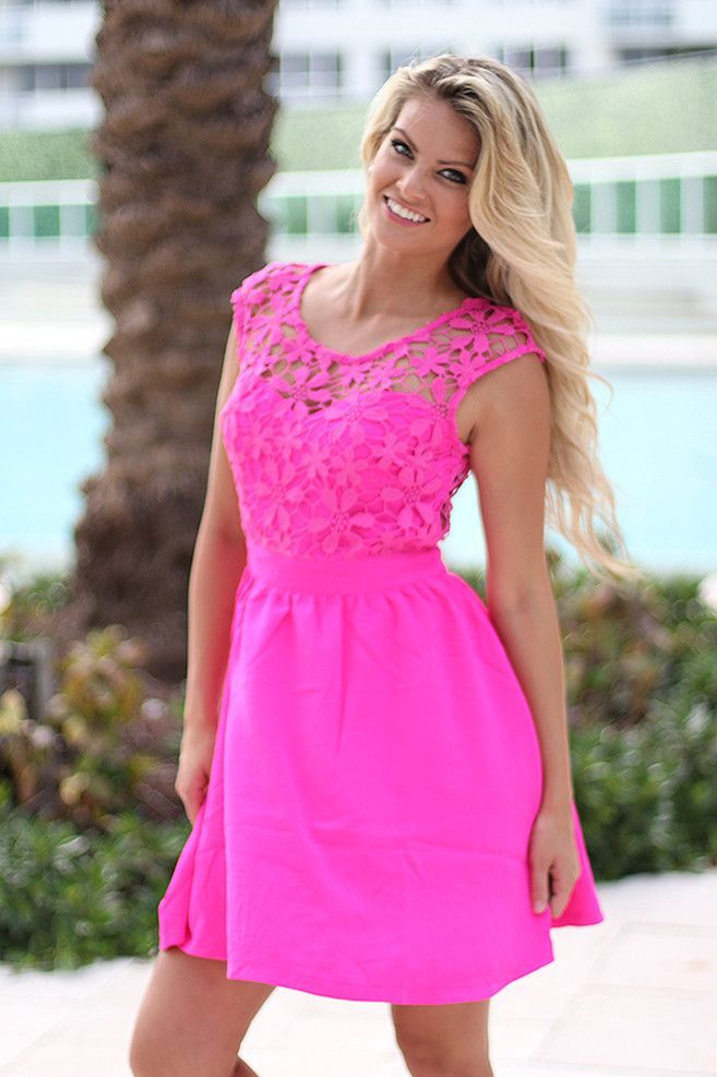 Neon Pink Short Dress With Crochet Back | Pinterest