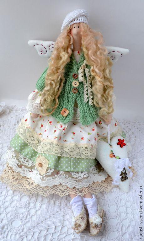 Купить Тильда ангел! Бохо. Интерьерная кукла.Текстильная игрушка - оливковый, зеленый цвет ☆