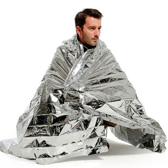 Outdoor Waterproof Emergency Survival Thermal First Aid Rescue Blanket Silver