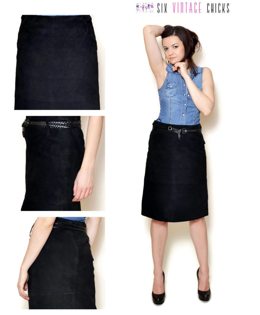 f5b2abb068 Leather Skirt Black Skirt Mini Skirt High Waisted Skirt 90s Skirt Rocker  Sexy Women Clothing Size M by SixVintageChicks on Etsy