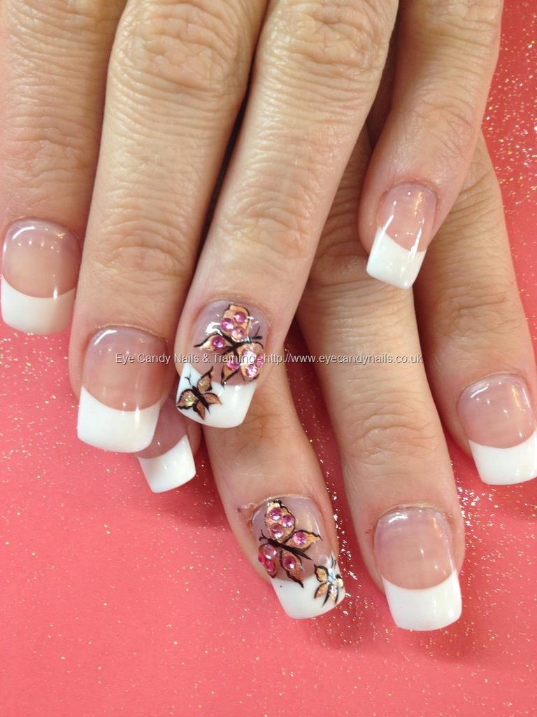 Freehand butterfly nail art with Swarovski crystals | Hair , makeup ...