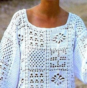 Vintage Crochet Pattern Granny Square Motif Tops Tunic Sweater ...