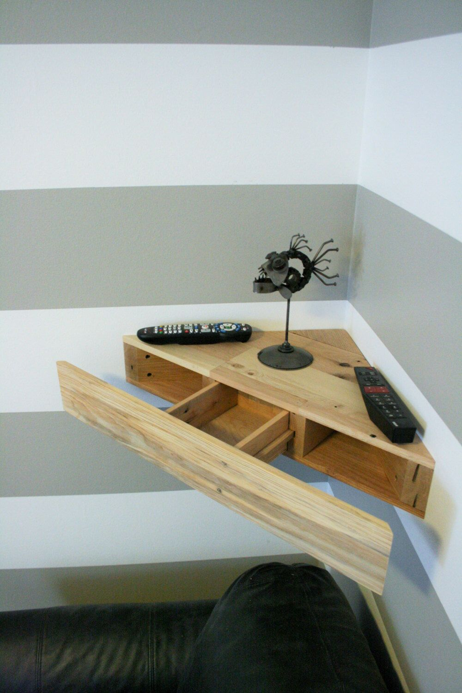 Reclaimed Pallet Wood Corner Floating Shelf With Hidden