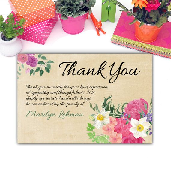 Funeral Thank you Card - Sympathy Thank You Card - For Funeral and - death announcement cards free