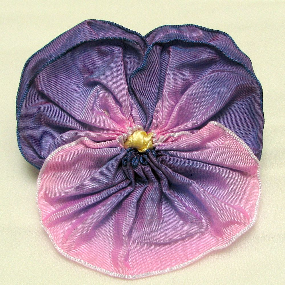 Pansy Pin Purple to Pink Shaded French Ribbon by dorothydesigns