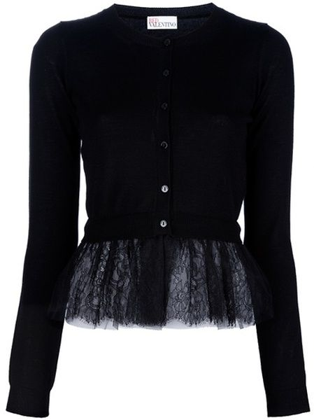 31bf1d31f602da Red Valentino Netted Peplum Cardigan in Black - Lyst...add silk , chiffon  or lace peplums to short cardigans or tunic sweaters