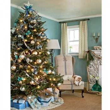 Christmas tree decorations, colors blue and gold, big decorations
