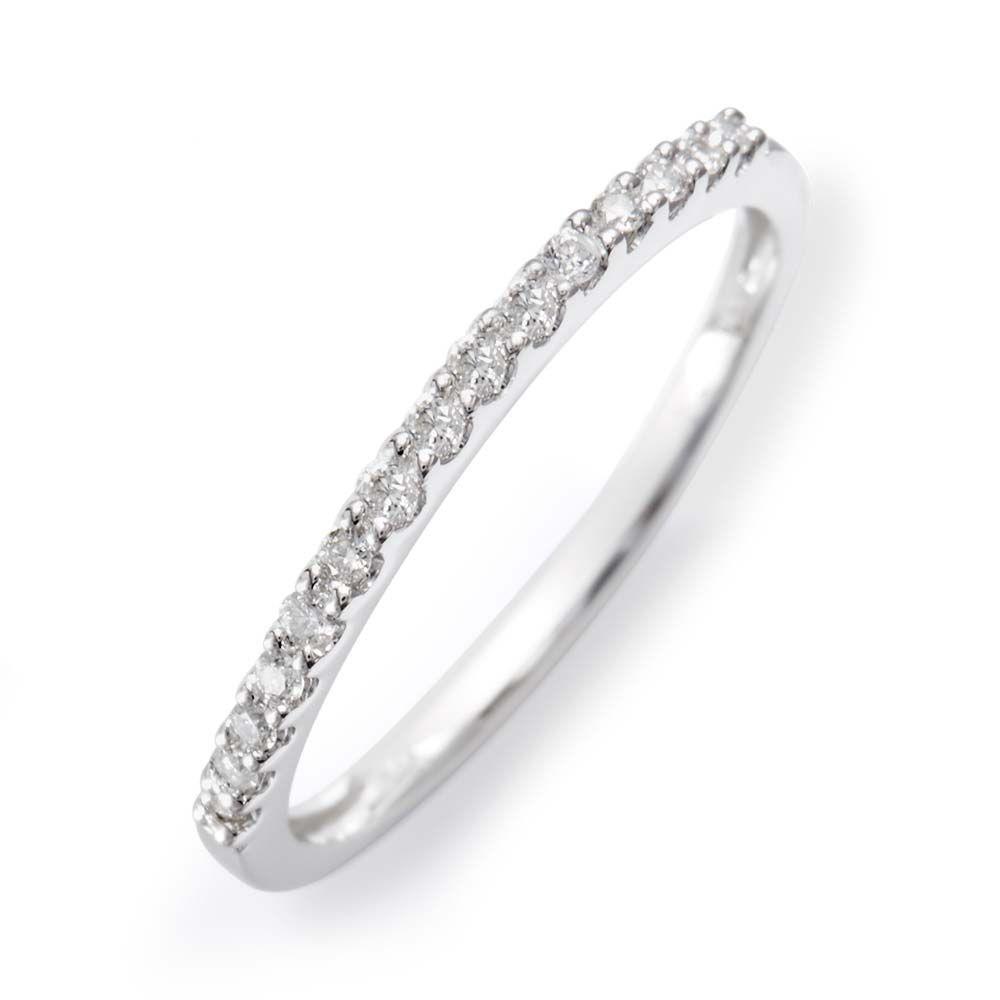 14K White Gold Diamond Thin Promise Ring