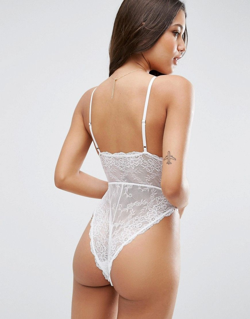 Lace bodysuit high waisted pants  ASOS Bailey High Leg Lace Bodysuit  White  Products
