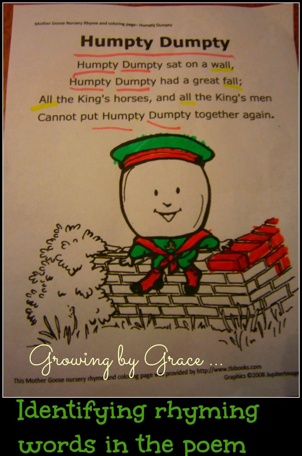 Growing by Grace : Humpty Dumpty Egg Unit | Nursery rhymes ...