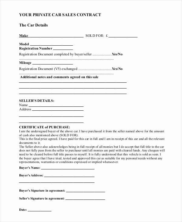 Private Car Sale Contract Template Unique Sample Car Sale Contract Forms 8 Free Documents In Pd Rental Agreement Templates Contract Template Purchase Agreement