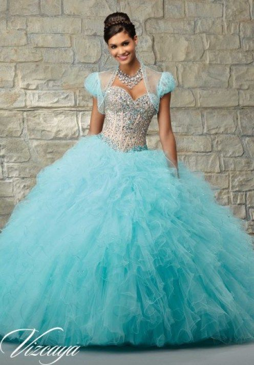 714f28d2ca Tiffany blue quinceanera dress