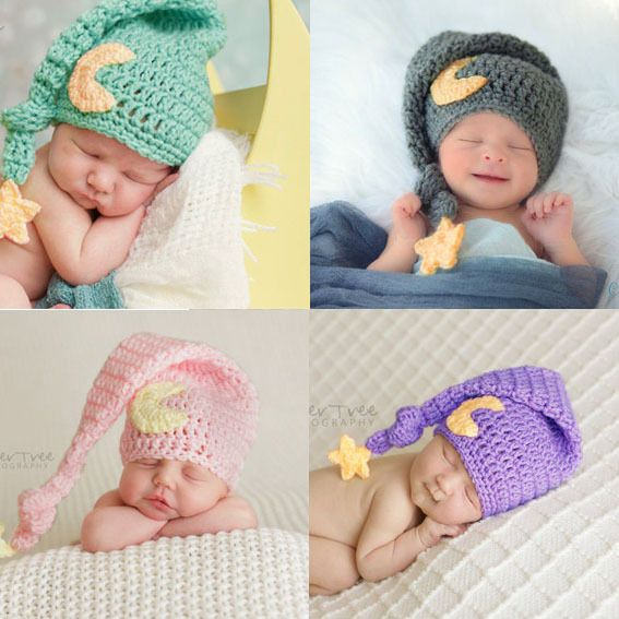 Baby Photography Props Knitted Baby Moon Star Hat with Tail Newborn  Photography Accessories Newborn Crochet Outfits Winter Caps 83549aff4810