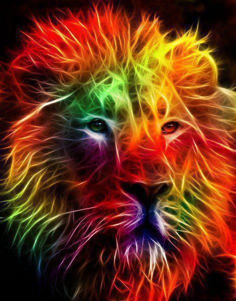 Color Energy Lion Colorful Lion Fractal Art Rainbow Lion