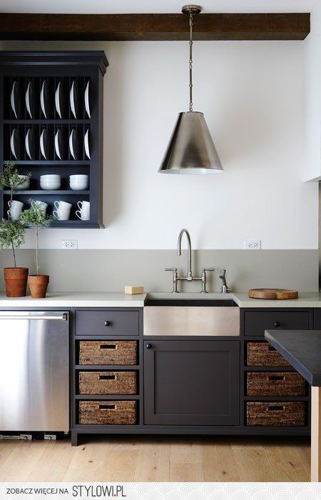 Stainless Farmhouse Sink With Black Cabinets Is Nice Kitchen