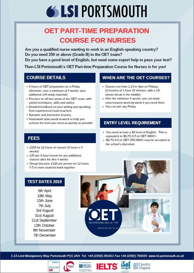 More information for our part time nurses OET course | From
