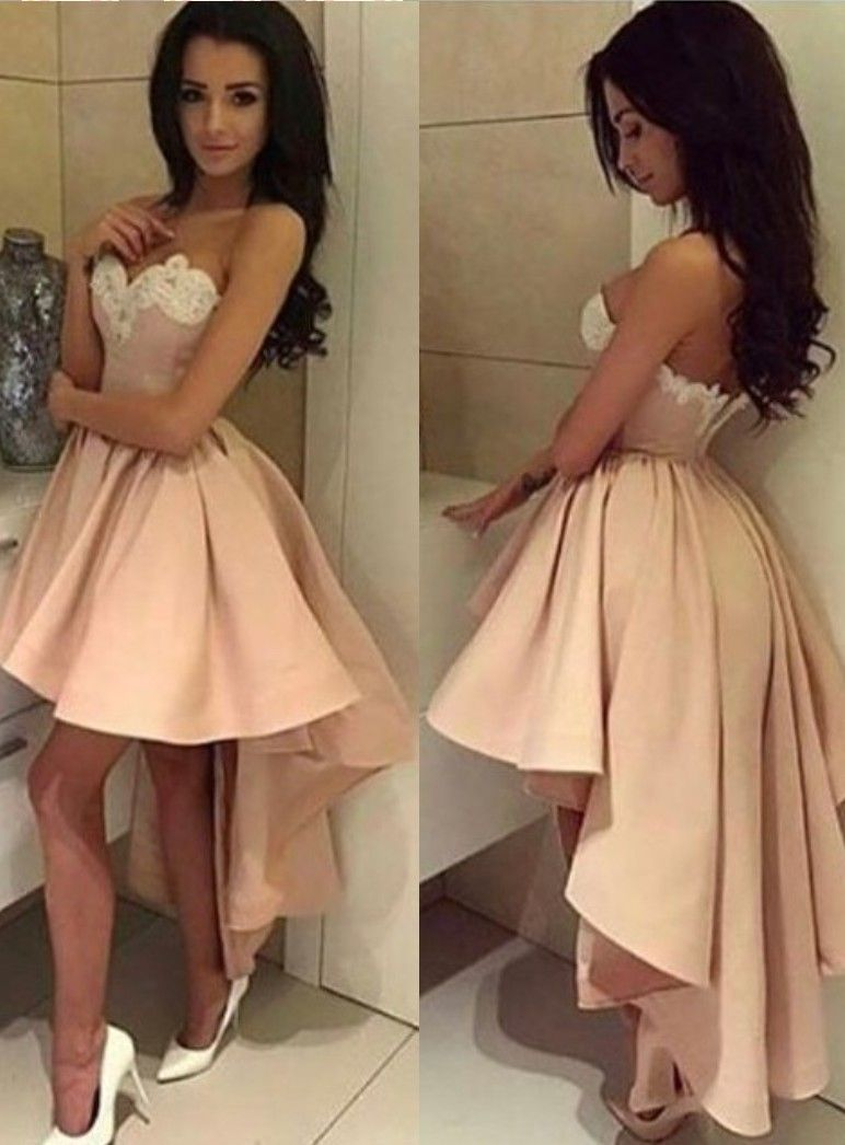 Sexy lace applique highlow sweetheart modern ballgown cocktail