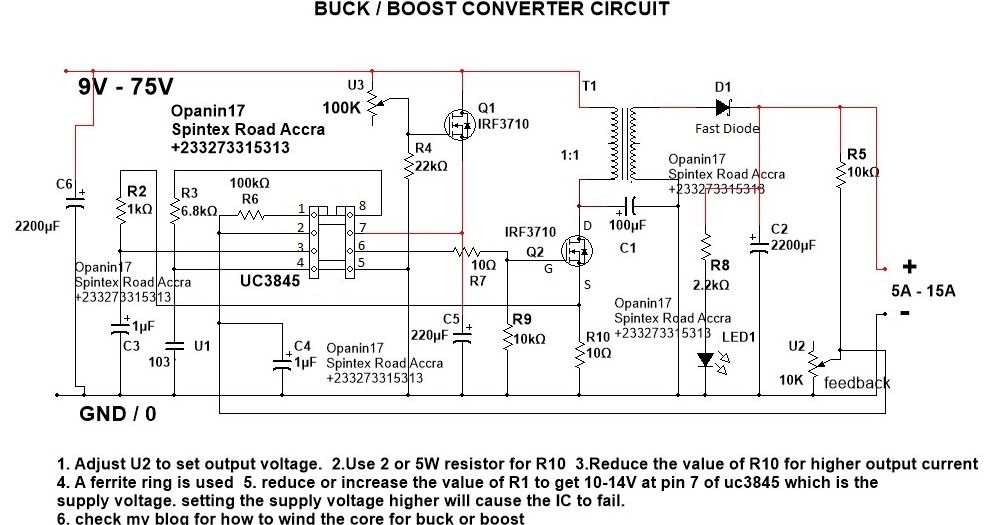 Step up converter, step down converter, uc3845 converter