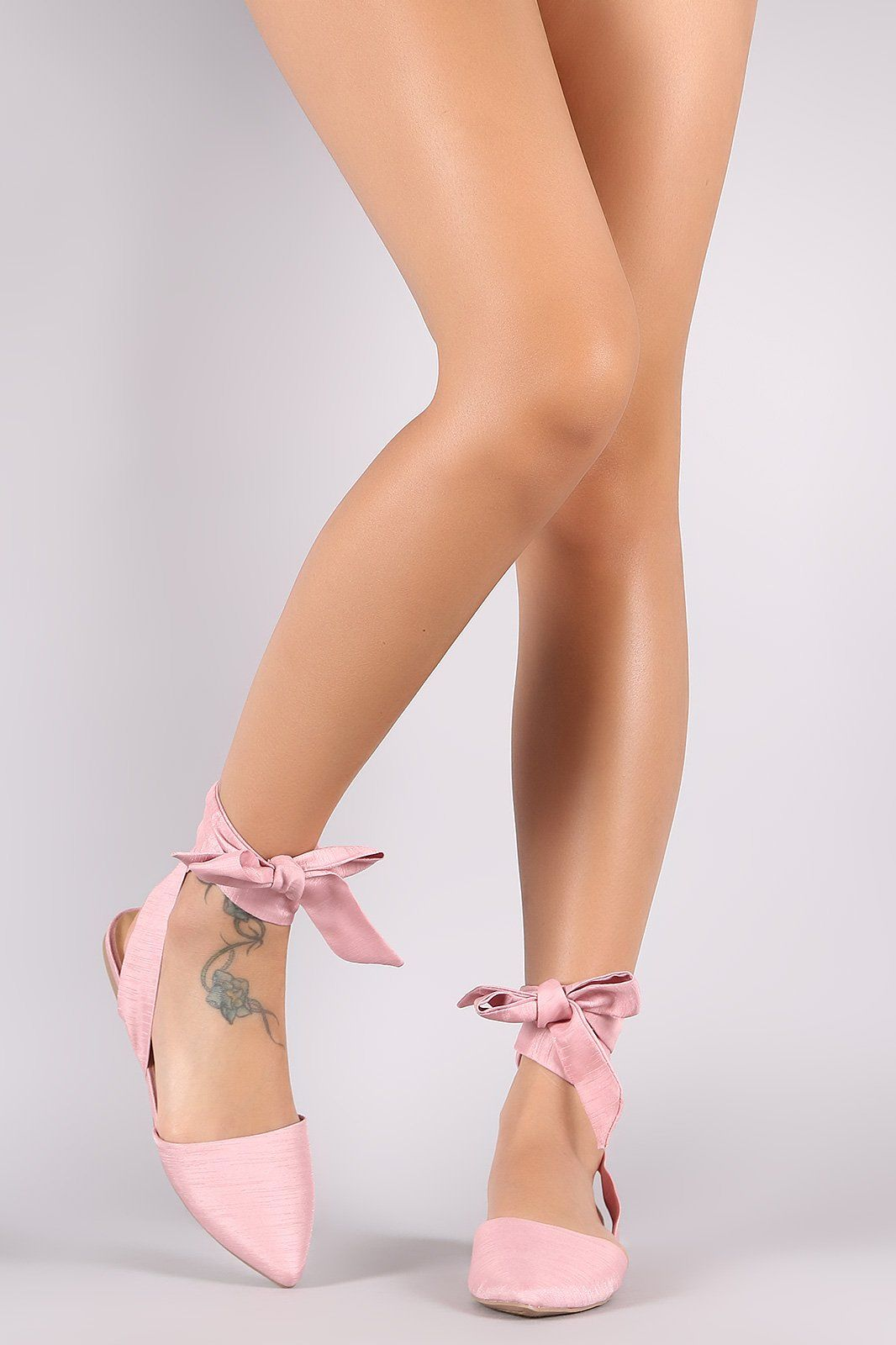 City Classified Strappy Leg Wrap Open Back Pointy Toe Flat