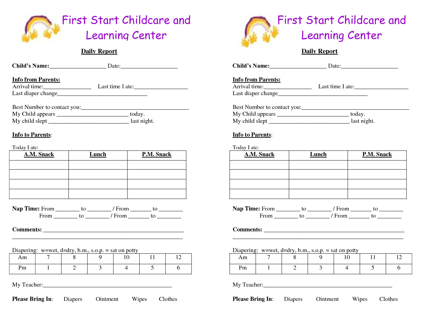 free printable infant daily report