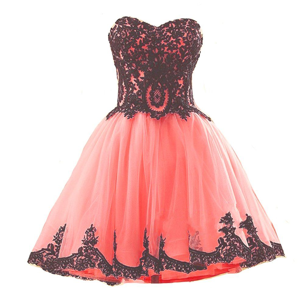 Short coral tulle vintage black lace gothic prom homecoming cocktail
