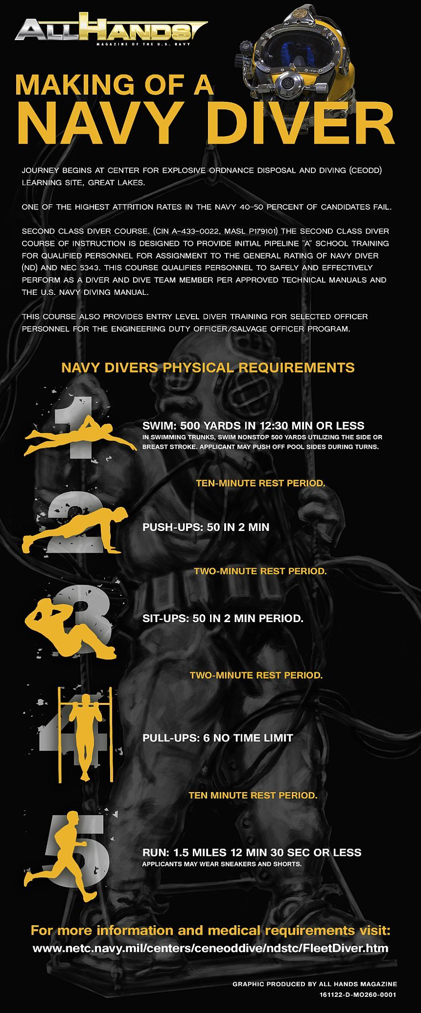 Infographic for basic physical requirements to become a Navy