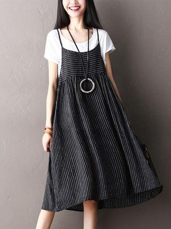 Only US$13.59 , shop O-NEWE Plus Size Vintage Women Striped Sleeveless Dresses at Banggood.com. Buy fashion Casual Dresses online.