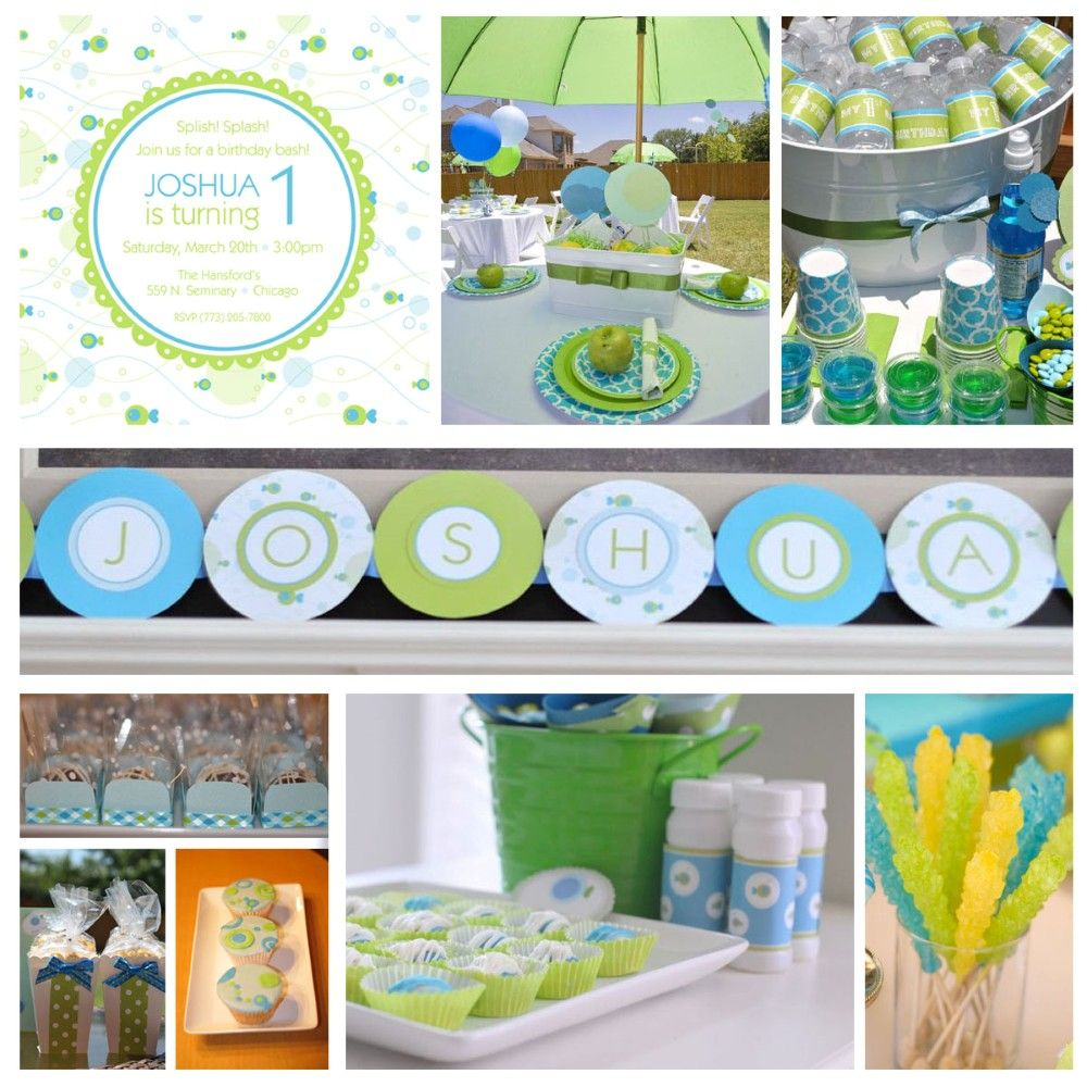 Blue And Green Boy Birthday Party (love The Color Scheme
