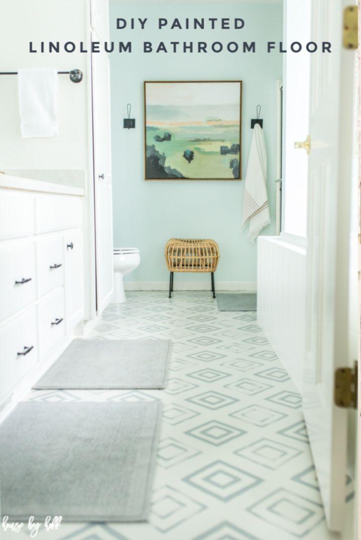 diy painted linoleum bathroom floor  househoff in