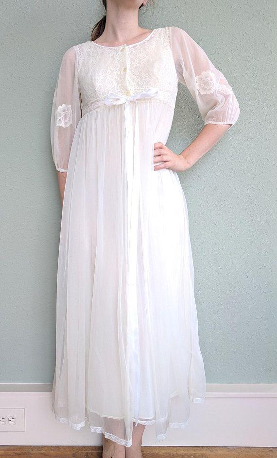 1950s White Chiffon Peignoir Bridal Set 4e1b96ec9