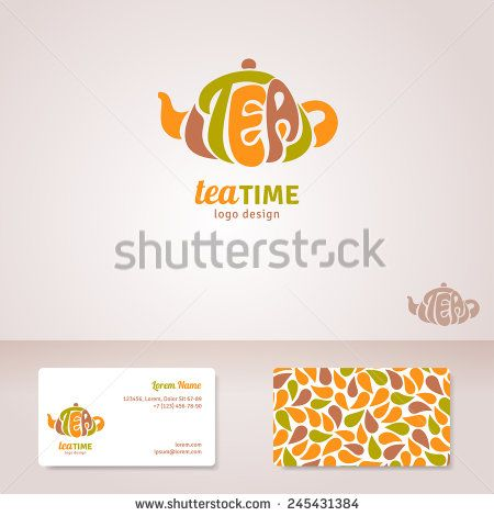 Tea Logo Design Vector Illustration Tea Lettering In Form Of