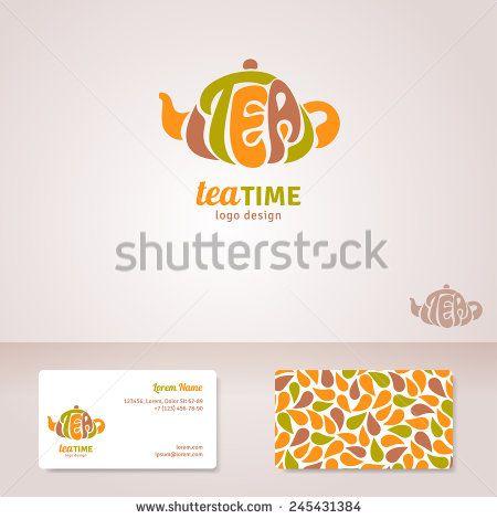 Tea Logo Design Vector Illustration Tea Lettering In Form Of
