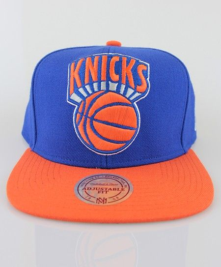 new product d6695 7551b ... hot mitchell ness new york knicks xl logo 2 tone snapback cap in blue  and orange
