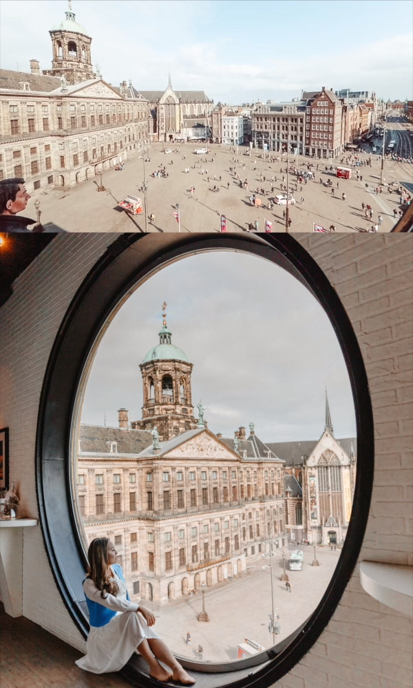 The window overlooking Dam Square at Madame Tussauds is one of the best Instagrammable places in Amsterdam. Click through to find out where to take photos in Amsterdam and get a map of all the spots! // PIN FOR LATER // #amsterdam #amsterdamphotos #amsterdamphotographer #amsterdamtravel #amsterdamtraveltips #rijksmuseum