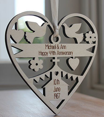 Anniversary Wedding Gift Personalised Engraved Wood Decoration Made In The Uk Alphabe Personalized Anniversary Happy 49th Anniversary Wedding Anniversary Gifts
