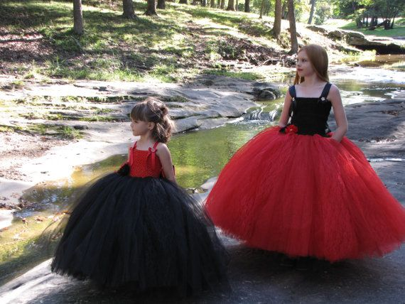 1228683972f Girls red and black Tulle flower girl dress by TheCreatorsTouch