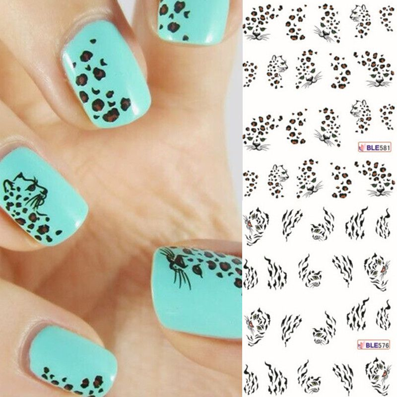 Leopard Tiger Design Transfer Nail Water Sticker 2 Style Animal