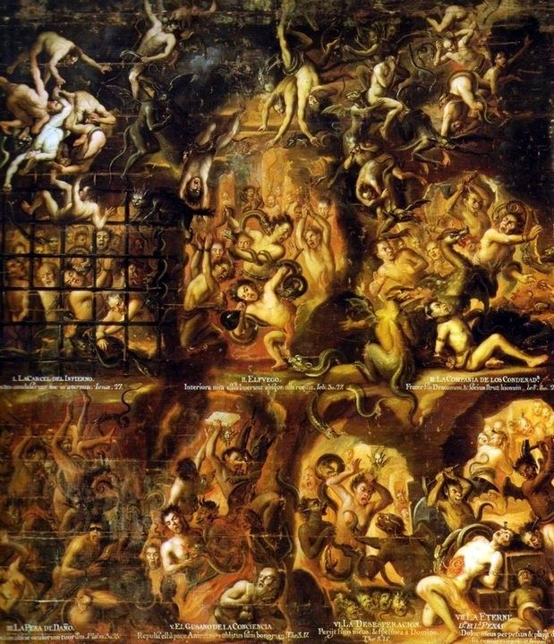 Anonymous artist, Las Penas del Infierno (Penances of Hell), XVIIIth century.La Profesa/Mexico City