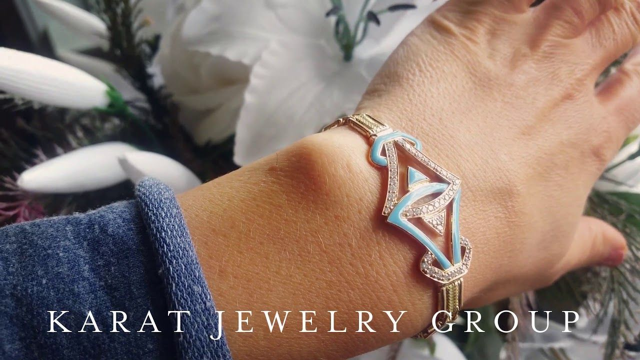 Yellow gold bracelet with diamonds and blue enamel custom design at