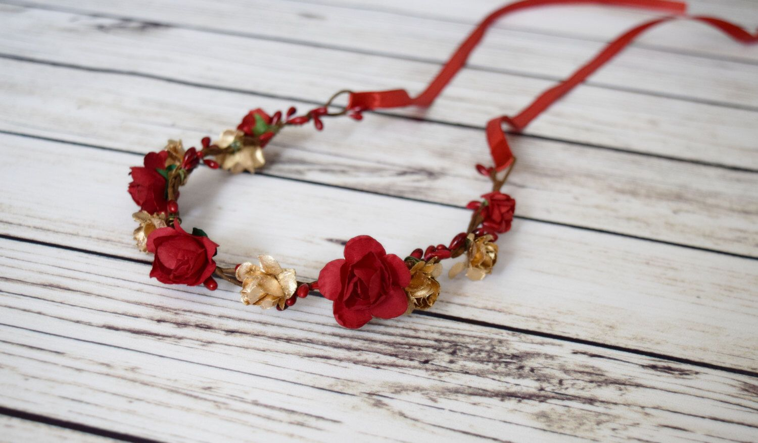 BIG SALE Hand Crafted Christmas Flower Crown - Gold and Red Flower Crown - Red Rose Flower Crown - Medieval Flower Crown - Renaissance Flowe by KaticesBowtique on Etsy https://www.etsy.com/listing/461741014/big-sale-hand-crafted-christmas-flower